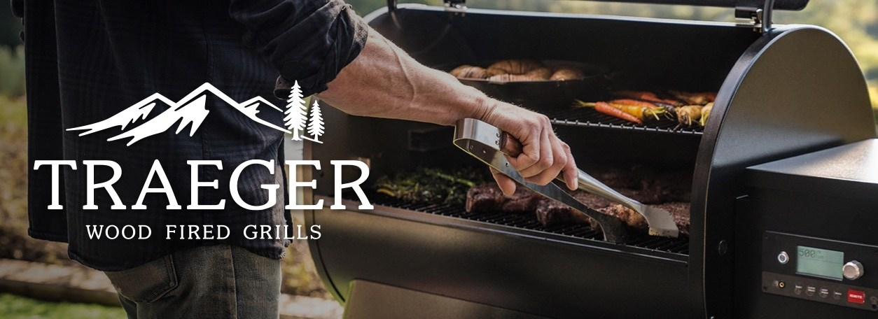Traeger logo with person cooking on Traeger grill