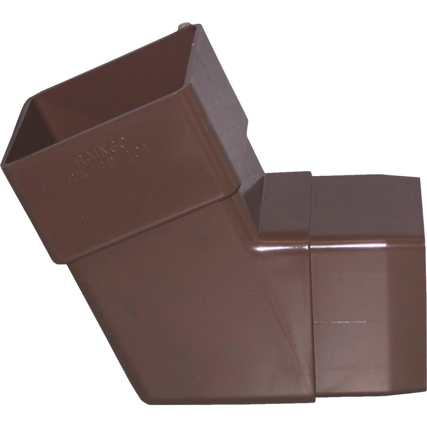 Raingo 2-1/2 In. Vinyl Brown Front or Side Downspout Elbow Image 1