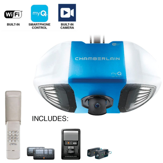 Chamberlain B-4545 3/4 HP myQ Secure View Smart Belt Drive Garage Door Opener with Wi-Fi and Camera