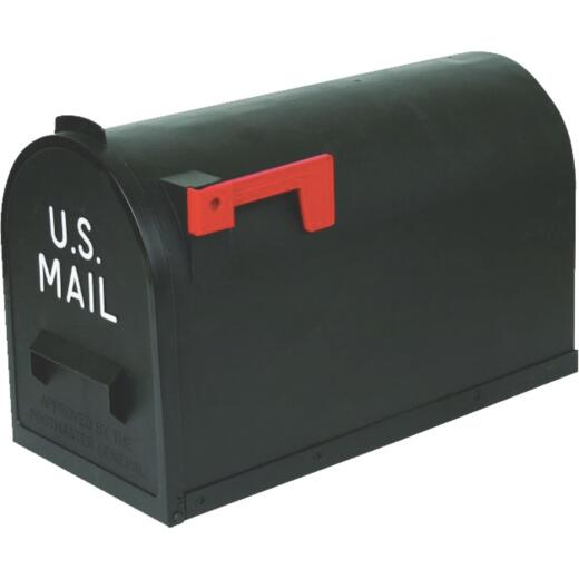 Flambeau No. 2 Black Plastic Rural Post Mount Mailbox