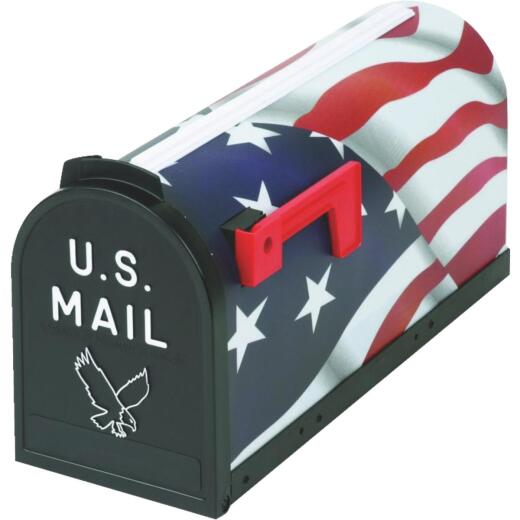 Flambeau American Flag Plastic Rural Post Mount Mailbox