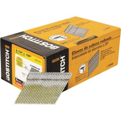 Bostitch 28 Degree Wire Weld Galvanized Offset Round Head Framing Stick Nail, 3-1/4 In. x .120 In. (2000 Ct.)