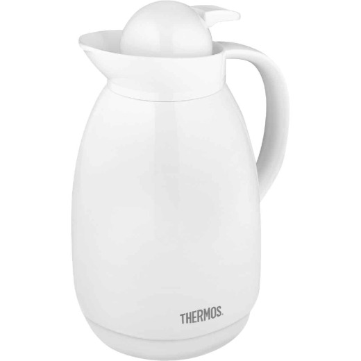 Thermos White Vacuum Insulated Glass Carafe