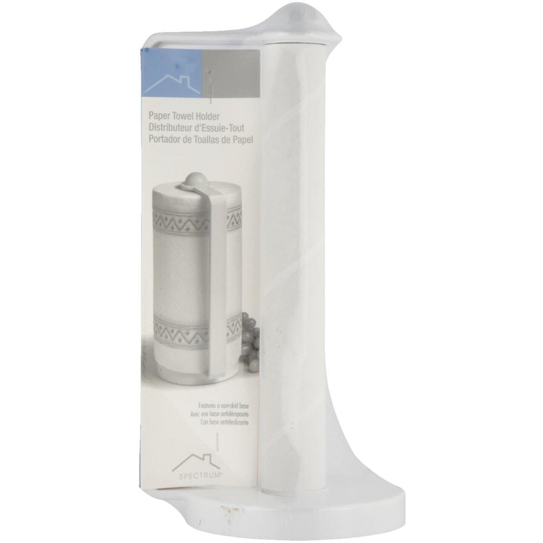Spectrum White Portable Plastic Paper Towel Holder Image 2