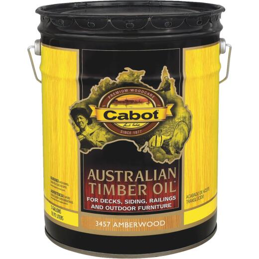 Cabot Australian Timber Oil Translucent Exterior Oil Finish, Amberwood, 5 Gal.