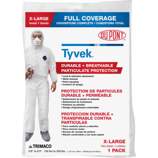 Dupont Tyvek XL Hooded Reusable Painter's Coveralls
