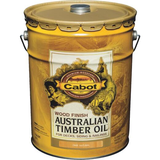 Cabot Australian Timber Oil Water Reducible Translucent Exterior Oil Finish, Natural, 5 Gal.