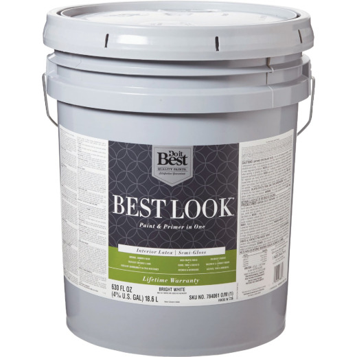Best Look Latex Paint & Primer In One Semi-Gloss Interior Wall Paint, Bright White, 5 Gal.