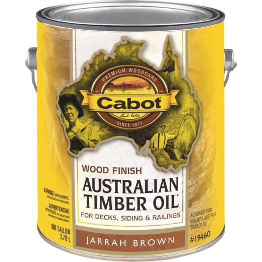 Cabot Australian Timber Oil Water Reducible Translucent Exterior Oil Finish, Jarrah Brown, 1 Gal.