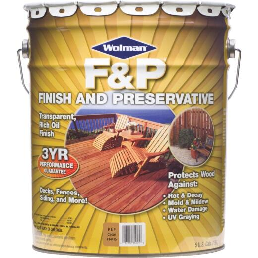 Wolman F&P Transparent Wood Finish And Preservative, Cedar, 5 Gal.