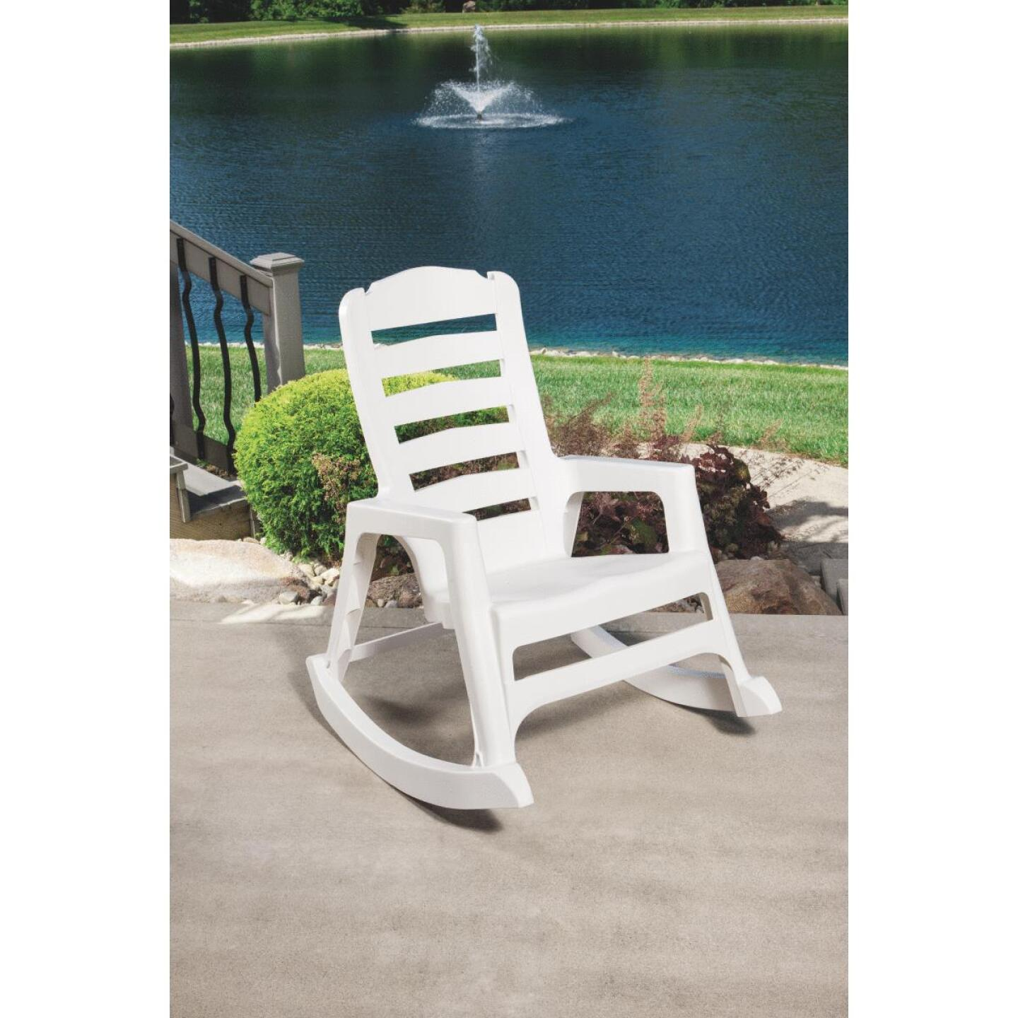Big Easy White Resin Stackable Rocking Chair Image 2
